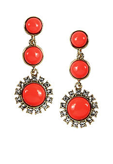 Anne Klein Clip Coral Drop Earrings