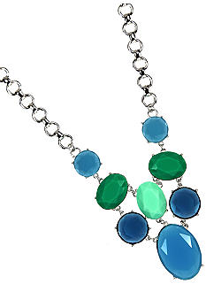 Anne Klein Blue Drama Frontal Necklace