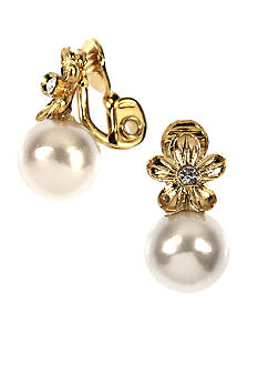 Anne Klein Flower Pearl Clip Earrings