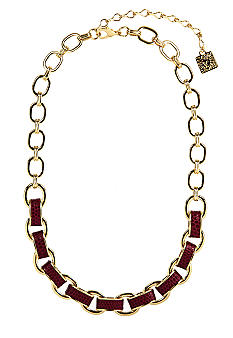 Anne Klein Cranberry Link Frontal Necklace