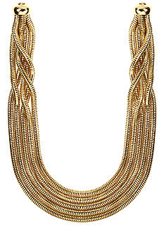 Anne Klein Five Row Gold Tone Collar Necklace