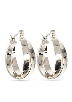 Anne Klein Small Silver-Tone Hoop Earrings