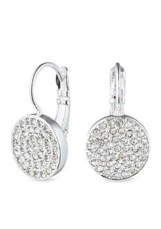 Anne Klein Silver Tone Pave Drop Earrings