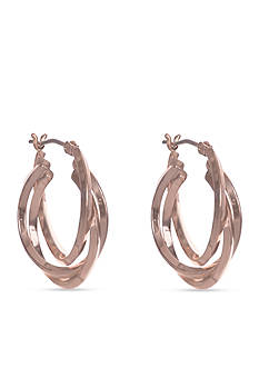 Anne Klein Rose Gold-Tone Hoop Earrings