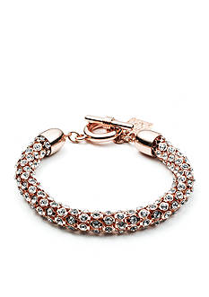 Anne Klein Rose Gold-Tone Pave Bracelet