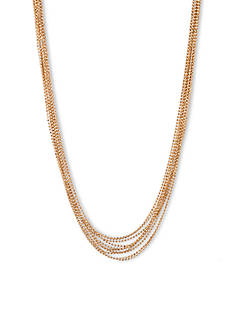 Anne Klein Multi Row Gold-Tone Collar Necklace