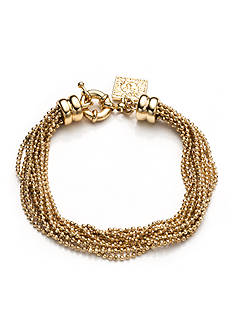 Anne Klein Multi Row Gold Tone Flex Bracelet
