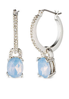 Anne Klein Blue Pave Hoop Drop Earrings