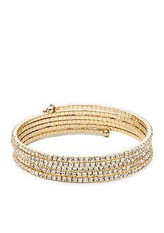 Anne Klein Gold-Tone Rhinestone Coil Bracelet