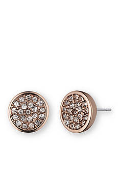 Anne Klein Rose Gold-Tone Pave Stud Earrings