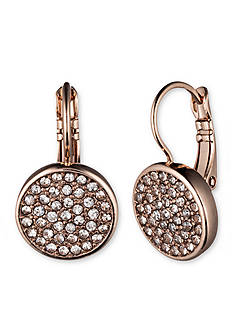 Anne Klein Rose Gold-Tone Pave Drop Earrings