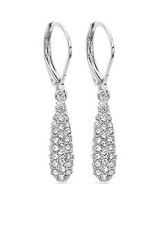 Anne Klein Silver-Tone Pave Drop Earrings