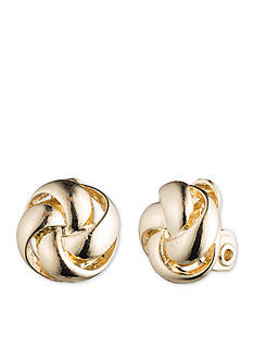 Anne Klein Gold-Tone Knot Clip Earrings