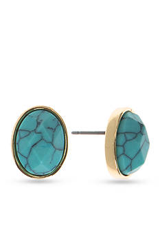 Anne Klein Turquoise Button Earrings