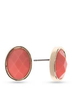 Anne Klein Coral Button Earrings