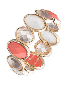 Anne Klein Coral Multi Stone Stretch Bracelet