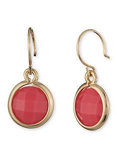 Anne Klein Gold-Tone Coral Circle Drop Earrings