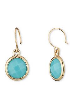 Anne Klein Gold-Tone Turquoise Drop Earrings