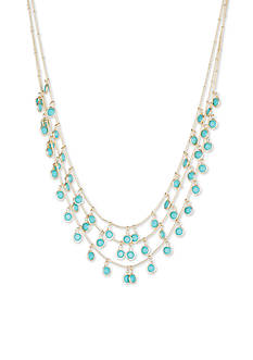 Anne Klein Gold-Tone Turquoise Stone Multistrand Necklace