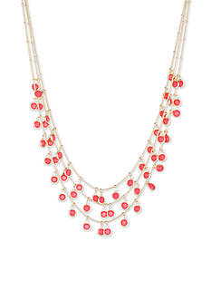 Anne Klein Gold-Tone Coral Bead Multistrand Necklace