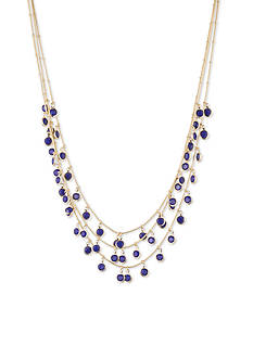 Anne Klein Gold-Tone Cobalt Stone Multistrand Necklace