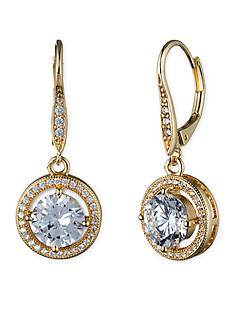 Gold-Tone Anne Klein Crystal Drop Earrings
