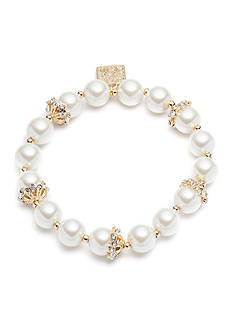 Gold-Tone Anne Klein Pearl Stretch Bracelet