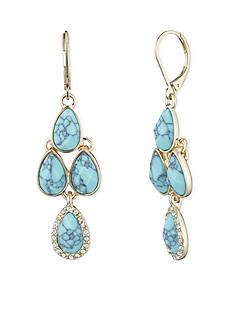 Gold-Tone Anne Klein Turquoise Chandelier Earrings