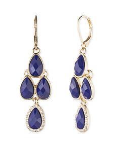 Gold-Tone Anne Klein Cobalt Chandelier Earrings