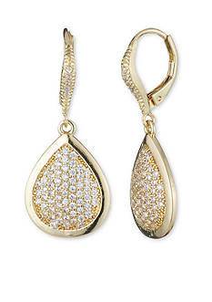 Anne Klein Gold-Tone Cubic Zirconia Pear Drop Earrings