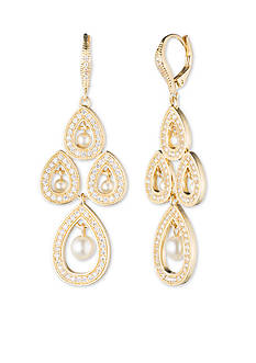 Anne Klein Gold-Tone Pearl Chandelier Earrings
