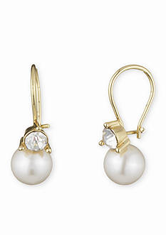 Gold-Tone Anne Klein Pearl Drop Earrings