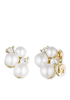 Gold-Tone Anne Klein Pearl Button Clip Earrings