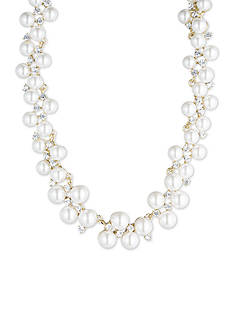 Gold-Tone Anne Klein Pearl and Crystal Collar Necklace
