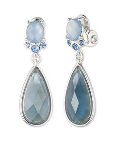 Anne Klein Silver-Tone Denim Stone Clip Drop Earrings