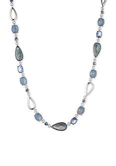 Anne Klein Silver-Tone Denim Stone Collar Necklace