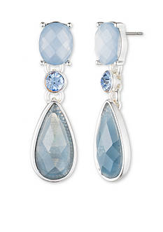 Anne Klein Silver-Tone Denim Stone Drop Earrings