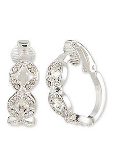 Anne Klein Silver-Tone Hoop Clip Earrings