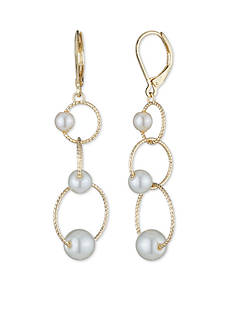 Anne Klein Gold-Tone Pearl Drop Earrings