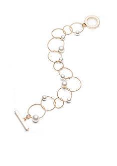 Anne Klein Gold-Tone Pearl Chain Bracelet