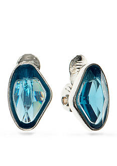 Anne Klein Silver Tone Blue Clip Earrings