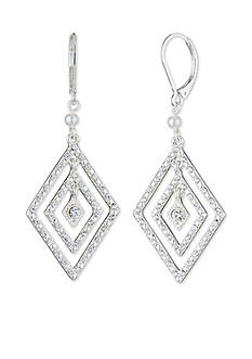 Anne Klein Silver-Tone Pearl Drop Earrings