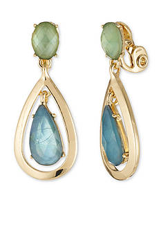 Anne Klein Gold-Tone Green Orbital Clip Drop Earrings