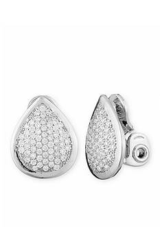 Anne Klein Silver-Tone Pear Shaped Clip Earrings