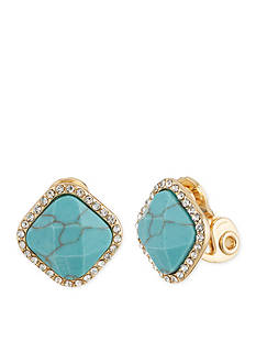 Anne Klein Gold-Tone and Turquoise Clip Earrings