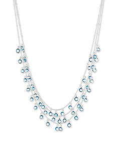 Anne Klein Silver-Tone and Blue Three Strand Necklace