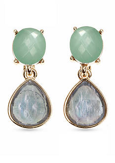 Anne Klein Gold-Tone Turquoise Teardrop Clip Earrings