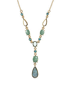 Anne Klein Gold-Tone Turquoise Teardrop Y Necklace