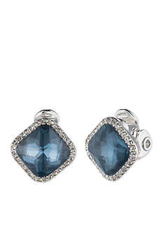 Anne Klein Silver-Tone Blue Clip Button Earrings