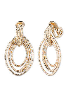 Anne Klein Gold-Tone Clip Drop Earrings
